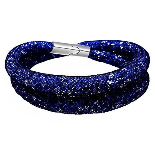 Mesh Bracelet / Necklace (16-1/2'') - Magnetic Clasp - Royal Blue Sparkle (B513) by A-Ha