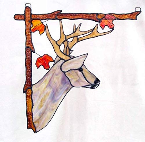 Stained Glass Deer Window Hanging, Left