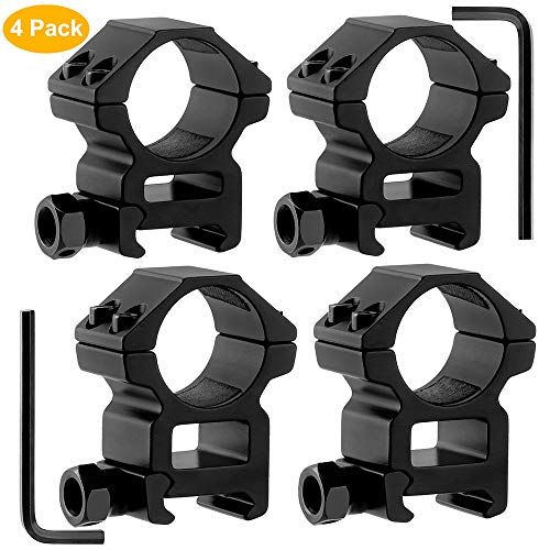 GoldCam 1'' Scope Rings, 2Pcs High Profile + 2Pcs Medium Profile 1 Inch Scope Mount Rings for Picatinny/Weaver Rail - Pack of 4 (Best 1 Inch Scope Rings)