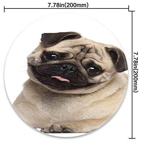Round Mouse Pad Mousepad with Pug,Nine Months Old Pug Puppy Lying Around Cute Pet Funny Animal Domestication Print,Pale Brown Black Pattern Gel Rubber for Gaming Office - 200MMx3MM