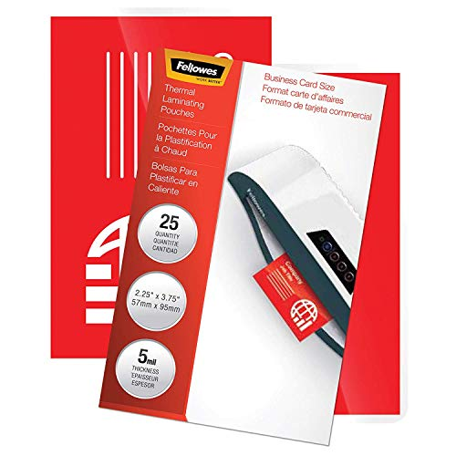 Fellowes Thermal Laminating Pouches 25 Pouches(5 Each/Letter,Business Card,ID,File Card,Luggage Tag)