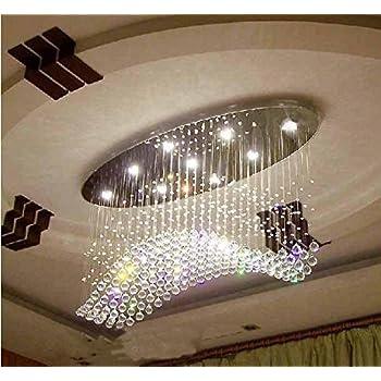 Siljoy Wave Design Modern Chandelier Rain Drop Lighting Crystal