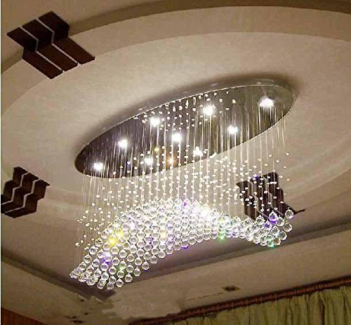 7PM W40″ Modern Wave Oval Rain Drop Clear LED K9 Crystal Chandelier Light Lighting Fixture for Living Room Dining Room Over Table