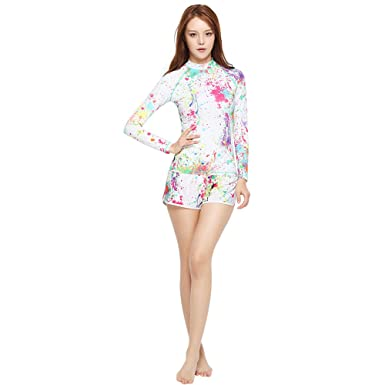 36dd2edf4ce4b Image Unavailable. Image not available for. Color  GSOU Snow Women s Long  Sleeve Rash Guard Shirt and Shorts Pants Swimwear ...