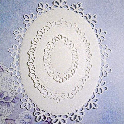 Oval Flower Frame Die Cut for Card Making, Cutting Dies for DIY Scrapbooking Album Gift Box Decor (Silver Metal Stencil)
