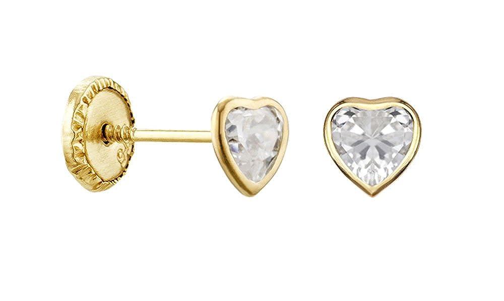 Corazón-Pendientes para mujer de oro amarillo 9 carat-sistemas de sillas de ruedas a tornillo-www.diamants-perles.com: Amazon.es: Joyería