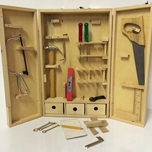 Natural Wood Full Size Tool Box with Tools Meant for Children Kids Carpenter Set (Woodworking Tools For Kids compare prices)