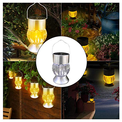 - Naiflowers Solar Lights LED Pumpkin Lamp 1-Piece Outdoor Waterproof Garden Solar Powered Garden Camping Light Hanging LED Light Yard Lawn Pathway Patio Landscape Yard Backyard (Silver)