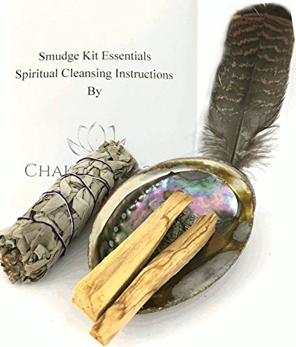 Smudge Kit Essentials - Abalone Shell, Sage, Palo Santo, Feather, Chakra Palace Instructions for Spiritual Healing and Meditation