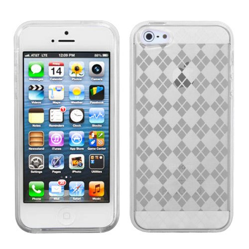 Clear Argyle Candy Skin Apple iPhone 5 Protector Skin Hard Soft Cover Case fits Sprint, Verizon, AT&T Wireless (Faceplate Transparent Blue Color)