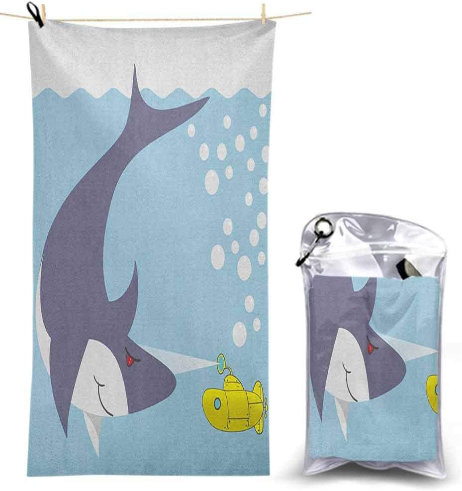 "Microfiber Beach Towels Lightweight Quick Dry Towel, Shark with Vessel in Ocean Bubbles Under Sea Theme Animals Cartoon 55"" x 27.5"" Travel Beach Towel for Swimming Pool"