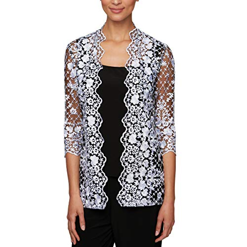 Alex Evenings Women's Jacket and Scoop Tank Top Twinset, Black/White, - Neck Scallop Embroidered Top