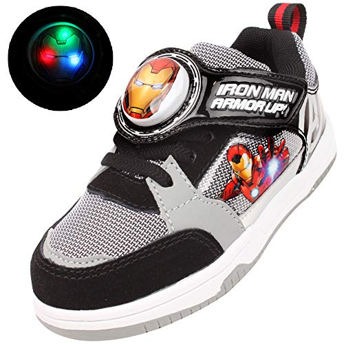 Joah Store Iron Man Avengers Light Up Sneakers for Boys Black Hook and Loop Shoes (Toddler/Little Kid) (11 M US Little Kid, Iron-Man_A) ()