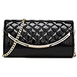SIMANLI Evening Envelope Clutch Purse Wallet for Women, Metal Accent Flap Evening Bag Handbag Shoulder Bag for Daily Life Shopping Party Wedding Prom Ball (Black)