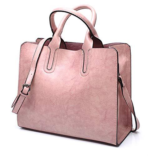 Pahajim Women Top Handle Satchel Fashion Shoulder Oil Leather Handbags Bucket Bag Tote Purse for Ladies and Girl (Pink) (Leather Bucket Bags Handbags)