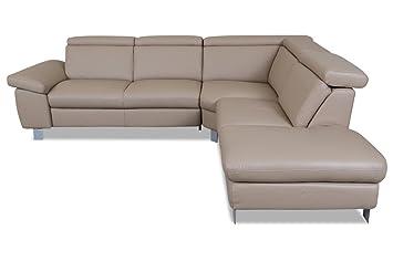 Sofa Couch Leder Rundecke Braun Mit Federkern Amazon De Kuche