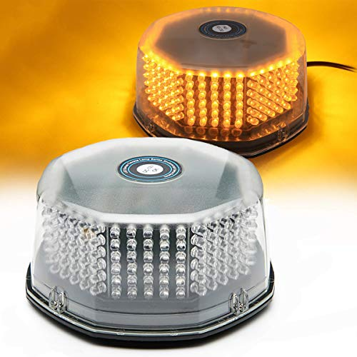 Amber Led Beacon Strobe Light Rotating Truck Vehicle Car Roof Top Hazard Warning Flash Emergency Led Strobe Light 14 Flash Patterns 240 Leds 12 Volt with Magnetic Mount and Cigar Lighter Plug
