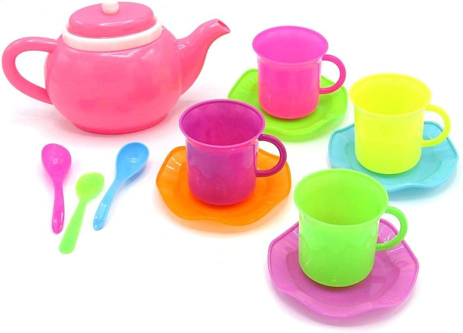 Dazzling Toys Tea Set for Girls & Boys- Durable Pretend Play 14 Piece Tea Set Play Food Accessories - Gift Idea