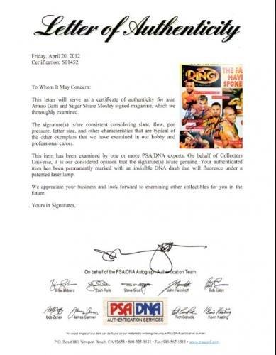 Arturo Gatti & Sugar Shane Mosley Autographed Magazine Page Photo #S01452 PSA/DNA Certified Autographed Boxing Magazines
