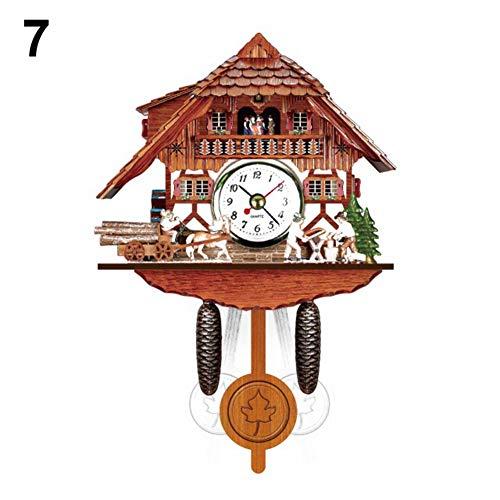 Antique Wooden Cuckoo Wall Clock Mini Bird Time Bell Swing Alarm Watch Home Art Decoration Gift