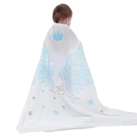Huayue Muselina Doble capa Toallitas para bebé Manta Swaddle Toalla para recién nacido y baño Paño ...