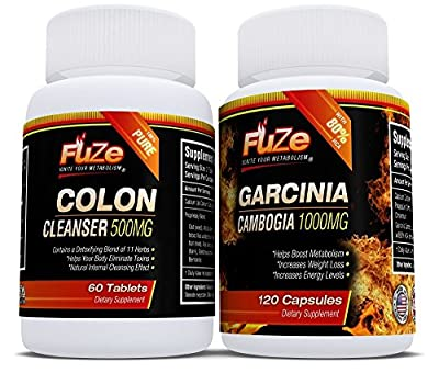 FUZE Garcinia Cambogia 80% HCA & Detox Colon Cleanser Maximum Strength Diet Duo for Faster Results - Ignite Your Metabolism!