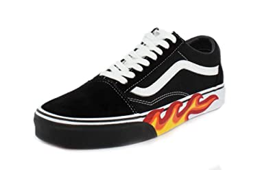 Vans Unisex Flame Cut Out Old Skool Black/True White Sneaker - 10