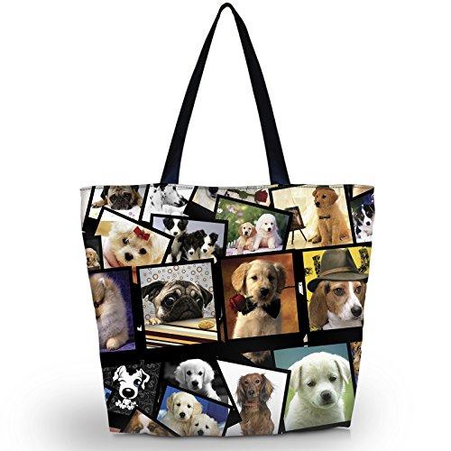 Newplenty Ladies Zippered Light Shoulder Shopping Tote Bag Handbag Beach Satchel, Many Dogs