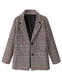desolateness Women's Boyfriend Slim Fit Plaid Open-Front Blazer Jacket