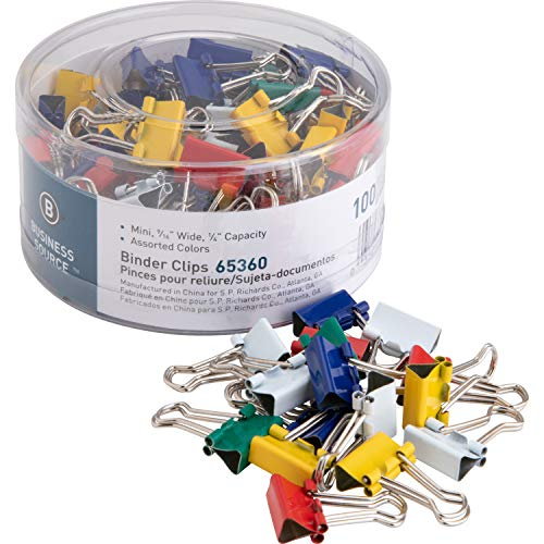 Business Source Mini Binder Clips - Pack of 100 - Assorted Colors (65360) from Business Source