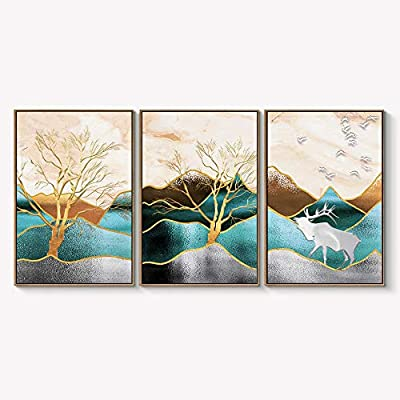 Framed for Living Room Bedroom Abstract Landscape Dream Place for x3 Panels, Crafted to Perfection, Handsome Composition