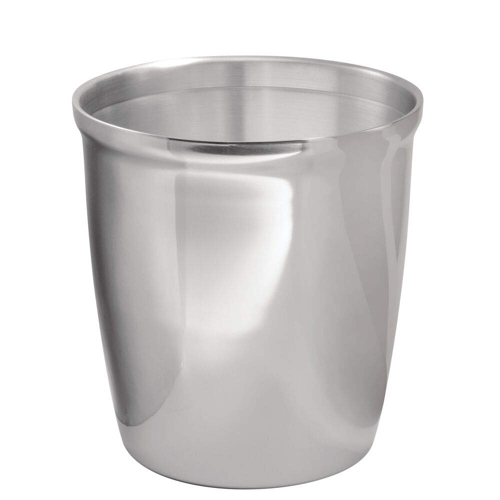 mDesign Small Round Metal Trash Can Wastebasket, Garbage Container Bin for Bathrooms, Powder Rooms, Kitchens, Home Offices - Polished Stainless Steel