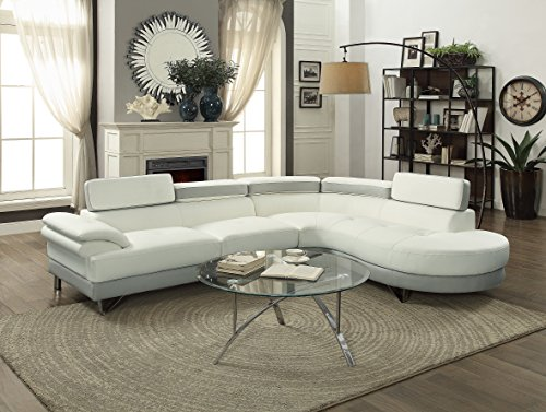 Contemporary Beautiful Bobkona 2pcs Sectional Sofa Chaise White & Grey Faux Leather Chrome Legs Flip up Headrest Living Room Furniture by Esofastore