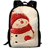 SuBenSM Snowman Red Hat In Snow Adult Backpack Daypack Fit Outdoor,College,travel