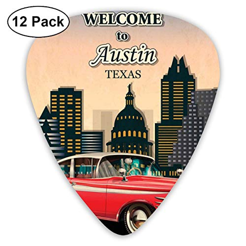 Celluloid Guitar Picks - 12 Pack,Abstract Art Colorful Designs,Retro Grungy Classical Red American Car And City Landmarks Welcome To Texas Greeting,For Bass Electric & Acoustic Guitars.