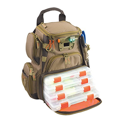 Tackle Pack - Custom Leathercraft Wild River by CLC WT3503 Tackle Tek Recon Lighted Compact Tackle Backpack with Four PT3500 Trays and Clear, Water-resistant Phone Storage
