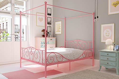 Poster Footboard - DHP Canopy Metal Bed with Sturdy Bed Frame, Pink, Full