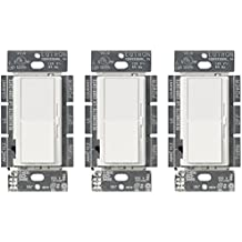 Lutron Diva C.L Dimmer for dimmable LED, Halogen, and Incandescent Bulbs, Single-Pole or 3-Way, DVCL-153P-WH-3, White (3-Pack)