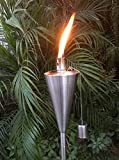 "Patio Torch – 6 Pack - Outdoor Garden Oil Lamp Lanterns with Decorative Stainless Steel Canister and Stand Stake - 45 Inches Tall Each - Thick, 7.5"" Long Lasting Fiberglass Wick - Includes 6 Torches"