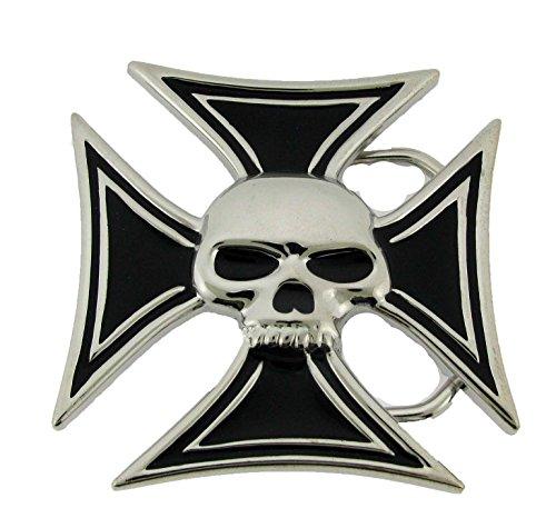 (Buckle Rage Adult Mens Maltese Iron Cross Skull Biker Enamel Belt Buckle Black)