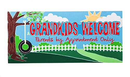 Evergreen Grandkids Welcome Decorative Mat Insert, 10 x 22 inches by Evergreen Flag