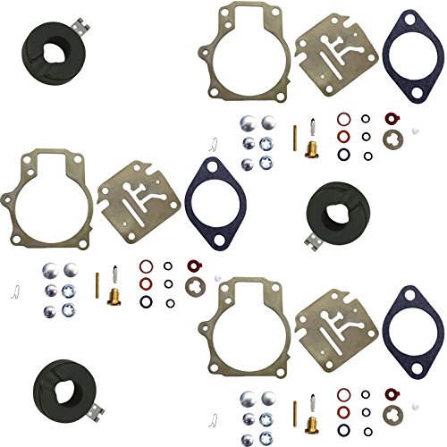 ((Compatible With Johnson Evinrude) Pack of Deluxe Venom Brand Carburetor Carb Rebuild Repair Kit w FLOAT Fits MANY 18 20 25 28 30 35 40 45 48 50 55 60 65 70 75 HP Outboard (SEE CHART For Fitment))