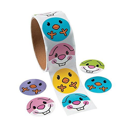 Easter Bunny Rabbit and Chick Sticker Roll - 100 ct by (Rabbit Chick)