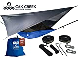 THE ULTIMATE, ALL-IN-ONE HAMMOCK.  Don't worry about needing any extra parts! Our Lost Valley Hammock bundle comes with everything you need for any environment. Rain fly, mosquito net, tree straps, steel carabiners, guy lines and an easy to carry si...