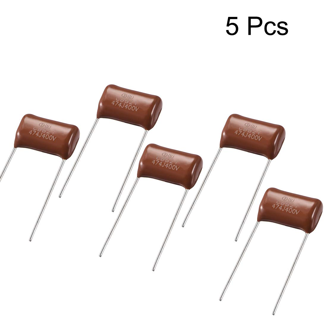 uxcell CBB21 Metallized Polypropylene Film Capacitors 400V 0.47uF for Electric Circuits Energy Saving Lamps Pack of 5