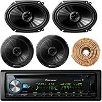 Pioneer Car Bluetooth Radio USB AUX CD Player Receiver - Bundle Combo With 2x 250W 6x8 inch 2-Way Coaxial Car Audio Speakers + 2x 6.5-Inch Speakers + Enrock 50 Ft 18 Gauge Speaker Wire
