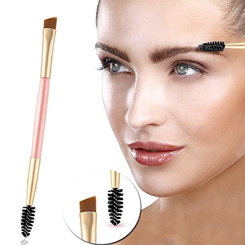 Sourcils Brosse+Cils Brosse, Pinceaux pour les yeux, Brosse à sourcils,Maquillage professionnel Outils de brosse Poignée en bambou Double brosse à sourcils + Peigne à sourcils