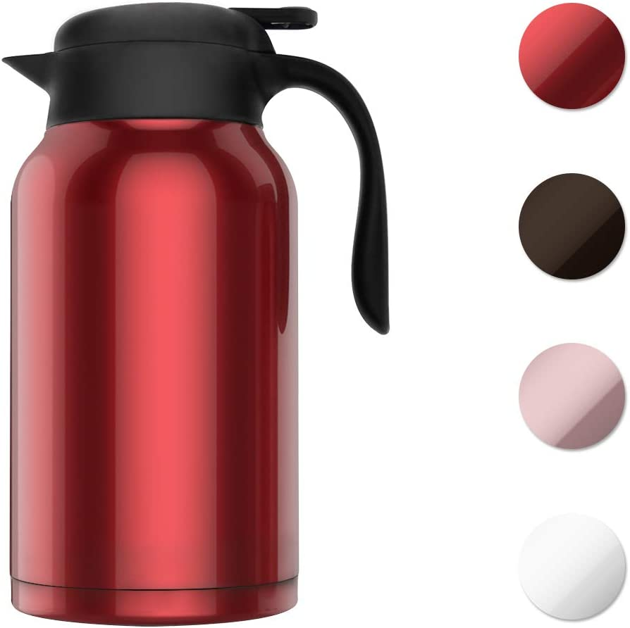 SDREAM 68 Oz Coffee Carafe Thermal Stainless Steel Double Walled Thermal Pots Hot Cold Beverage Pink
