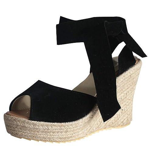 De Zapatos FiestaSandalias Para Mujer Cuña Negro IYyf6gvmb7