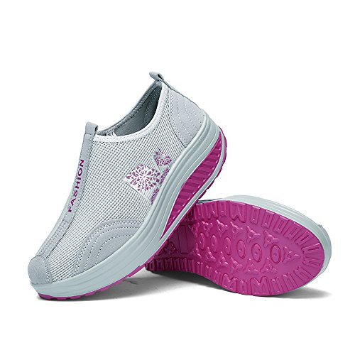 Enllerviid Kvinnor Forma Upp Mesh Promenadskor Halka På Plattform Fitness Toning Sneakers 259 Grå